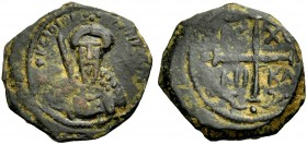 THE PRINCIPALITY OF ANTIOCH. TANCRED, 1104-1112. Copper coin type 2. Bearded bust of Tancred with chain armour and sword, +KE BOHΘH - (TANKPI) Rv. Cro...