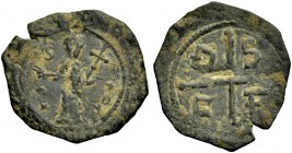 THE PRINCIPALITY OF ANTIOCH. TANCRED, 1104-1112. Copper coin type 3. Standing figure of St. Peter, his right hand raised, holding cross in his left ar...