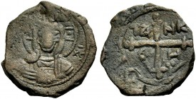 THE PRINCIPALITY OF ANTIOCH. TANCRED, 1104-1112. Copper coin type 4. Bust of Christ between (IC)-XC Rv. Cross, in the angles TA NK P H 4.18 g. Metc. 8...
