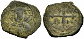 THE PRINCIPALITY OF ANTIOCH. TANCRED, 1104-1112. Copper coin type 4. Bust of Christ between (IC)-XC Rv. Cross, in the angles TA NK P H 2.37 g. Metc. 8...