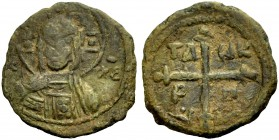 THE PRINCIPALITY OF ANTIOCH. TANCRED, 1104-1112. Copper coin type 4. Bust of Christ between (IC)-XC Rv. Cross, in the angles TA NK P H 2.53 g. Metc. 8...