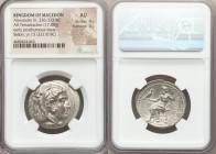 MACEDONIAN KINGDOM. Alexander III the Great (336-323 BC). AR tetradrachm (28mm, 17.08 gm, 12h). NGC AU 4/5 - 3/5. Early posthumous issue of Sidon, dat...