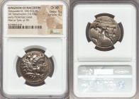 MACEDONIAN KINGDOM. Alexander III the Great (336-323 BC). AR tetradrachm (27mm, 16.92 gm, 3h). NGC Choice XF 5/5 - 4/5. Early posthumous issue of Tyre...