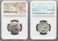 MACEDONIAN KINGDOM. Alexander III the Great (336-323 BC). AR tetradrachm (25mm, 16.90 gm, 12h). NGC Choice XF 4/5 - 3/5. Lifetime issue of Salamis, 33...