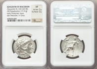 MACEDONIAN KINGDOM. Alexander III the Great (336-323 BC). AR tetradrachm (26mm, 17.21 gm, 1h). NGC XF 5/5 - 3/5. Posthumous issue of Memphis or Alexan...