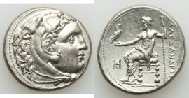 MACEDONIAN KINGDOM. Alexander III the Great (336-323 BC). AR tetradrachm (27mm, 17.01 gm, 1h). Choice AU, scratches. Late lifetime or early posthumous...