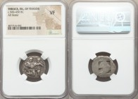 THRACIAN ISLANDS. Thasos. Ca. 500-450 BC. AR stater (21mm). NGC VF. Thasian standard. Nude ithyphallic satyr running right, carrying struggling nymph,...