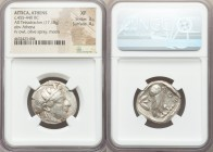 ATTICA. Athens. Ca. 455-440 BC. AR tetradrachm (25mm, 17.18 gm, 10h). NGC XF 3/5 - 4/5. Early transitional issue. Head of Athena right, wearing creste...