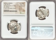 ATTICA. Athens. Ca. 440-404 BC. AR tetradrachm (25mm, 17.21 gm, 4h). NGC Choice AU S 5/5 - 5/5. Mid-mass coinage issue. Head of Athena right, wearing ...
