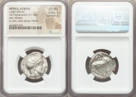 ATTICA. Athens. Ca. 440-404 BC. AR tetradrachm (23mm, 17.18 gm, 1h). NGC Choice AU 5/5 - 5/5. Mid-mass coinage issue. Head of Athena right, wearing cr...