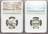 ATTICA. Athens. Ca. 440-404 BC. AR tetradrachm (26mm, 17.20 gm, 12h). NGC Choice AU 4/5 - 5/5. Mid-mass coinage issue. Head of Athena right, wearing c...