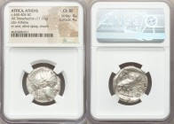 ATTICA. Athens. Ca. 440-404 BC. AR tetradrachm (24mm, 17.17 gm, 1h). NGC Choice XF 4/5 - 4/5. Mid-mass coinage issue. Head of Athena right, wearing cr...
