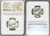 ATTICA. Athens. Ca. 440-404 BC. AR tetradrachm (24mm, 17.16 gm, 6h). NGC Choice VF 5/5 - 4/5. Mid-mass coinage issue. Head of Athena right, wearing cr...
