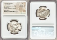 ATTICA. Athens. Ca. 440-404 BC. AR tetradrachm (27mm, 17.15 gm, 6h). NGC VF 4/5 - 4/5. Mid-mass coinage issue. Head of Athena right, wearing crested A...
