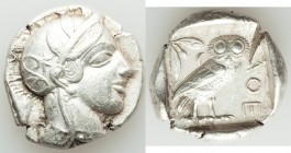 ATTICA. Athens. Ca. 440-404 BC. AR tetradrachm (27mm, 17.05 gm, 9h). About XF, test cut. Mid-mass coinage issue. Head of Athena right, wearing crested...