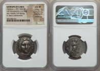 CARIAN SATRAPS. Hidrieus (ca. 351-344 BC). AR tetradrachm (25mm, 14.54 gm, 1h). NGC Choice XF 5/5 - 2/5, Fine Style, smoothing. Laureate head of Apoll...