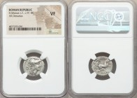D. Silanus L.f. (ca. 91 BC). AR denarius (18mm, 12h). NGC VF. Rome. Head of Roma right, wearing winged helmet decorated with griffin crest; D behind /...