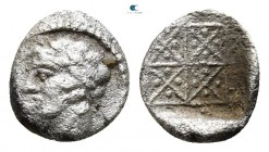 Macedon. Chalkidian League, Olynthos mint 425-390 BC. Obol AR, reduced standart