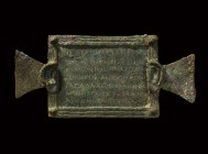 A substantial bronze plaque (tabula ansata), decorated with two human ears and carrying eight lines of engraved inscription with a dedication to Good ...