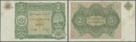 Afghanistan: 5 Afhangis 1936 P. 16, center fold and light stain at upper border, no holes or tears, still crip paper, condition: VF+.
