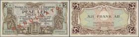 Albania: 5 Lek - 1 Frank ND(1925) Specimen P. 1s, rare note, light dint at lower left, otherwise perfect, condition: aUNC.