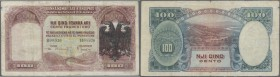 Albania: 100 Franka Ari ND(1939) P. 5, stronger used with strong vertical and horizontal folds, a 1,6cm tear at lower border, tiny repairs at borders,...