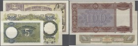 Albania: set of 3 notes containing 5 Franga ND(1939) P. 6a (pressed, F), 20 Franga ND(1939) P. 7 (VF-) and 100 Franga ND(1940) P. 8 (F+ to VF-), nice ...