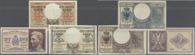 Albania: set of 3 notes containing 2 Lek ND(1940) P. 9 (aUNC), 5 Lek ND(1940) P. 10 (XF+) and 10 Lek ND(1940) P. 11 (VF-), nice set. (3 pcs)