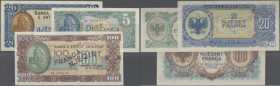 Albania: set of 3 notes containing 5,20,100 Franga 1945 P. 15-17, UNC, only the 100 is aUNC with a light corner fold at upper right, nice set. (3 pcs)