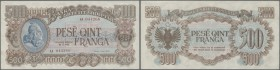 Albania: 500 Franga 1945 P. 18, rarely seen note, light dints in paper at upper and right border, otherwise perfect, condition: XF+ to aUNC.