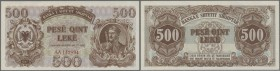 Albania: 500 Leke 1947 P. 22, light dints at upper border and left, otherwise crisp original condition: aUNC.