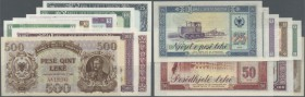 Albania: set with 8 Banknotes post war issues, including 500 Leke 1947 and a Specimen set from 1 - 100 Leke 1976, P.22, 40s-46s, all notes in UNC cond...
