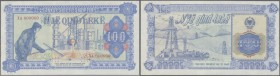 Albania: 100 Leke ND Specimen P. 46Ab, blue color, zero serial numbers, light and tiny ink stains at left, right and lower border, probably due to pro...