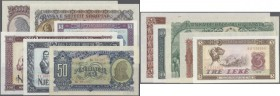 Albania: set of 12 different notes containing 50 Leke 1949 P. 25, 10,100,500,1000 Leke 1957 P. 28a,30a-32a and 10,50 Leke 1964 P. 36a, 38a as well as ...