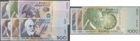 Albania: set of 9 different notes containing 100,200,500 and 1000 Leke 1996 P. 62-65, 200,500,1000 Leke 2001 P. 67-69 and 500,2000 Leke 2007 P. 72,74,...