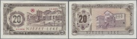 Albania: 20 Leke ND P. NL, unissued banknote project with regular serial number, rare note, light dints at left border and a minor corner fold at lowe...