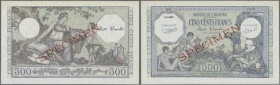 Algeria: 500 Francs ND Specimen P. 93s, with red specimen overprint, zero serial numbers, never folded but handling in paper and corner bends, no hole...