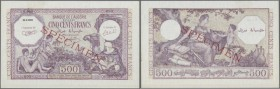 Algeria: 500 Francs 1944 Specimen P. 95s, with red Specimen overprint and zero serial numbers, in condition: aUNC.