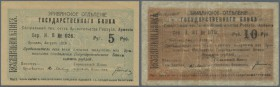 Armenia: Erivan Branch of Government Bank pair with 5 and 10 Rubles 1919, P.1 and 2. 5 Rubles with vertical bend at center and edge bend at upper righ...
