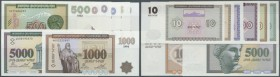 Armenia: set with 8 Banknotes Armenian Republic Bank 10 Dram - 5000 Dram 1993-1995, P.33, 34, 35, 36, 37a, 38b, 39, 40 in perfect UNC condition (8 Ban...