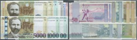 Armenia: set with 9 Banknotes containing 50 and 100 Dram 1998, 500, 1000 and 5000 Dram 1999, 1000 Dram 2001, 5000 Dram 2003, 1000 Dram 2011 and 5000 D...