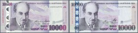 Armenia: pair of 10.000 Dram 2003 and 2012, P.52a and 57, both in UNC condition