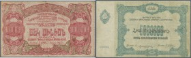 Armenia: Socialist Soviet Republic of Armenia 1 Million and 5 Million Rubles 1922, P.S684, S686, both in used condition with folds, stains and tiny te...