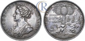 Anne silver British Victories Medal 1704, Capture of Gibraltar in July 1704, by Georg Hautsch. Silver, 26,03g. Медаль 1704 года. В честь взятия британ...
