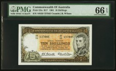 Australia Commonwealth Bank of Australia 10 Shillings ND (1961-65) Pick 33a R17 PMG Gem Uncirculated 66 EPQ.   HID09801242017