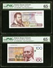 Belgium Nationale Bank Van Belgie 100 Francs 8.12.1971; ND (1978-81) Pick 134b; 140 Two Examples PMG Gem Uncirculated 65 EPQ.   HID09801242017