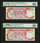 Belize Central Bank 5 Dollars 1989; 1980 Pick 47b; 39a Two Examples PMG Gem Uncirculated 66 EPQ.   HID09801242017