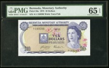 Bermuda Monetary Authority 10 Dollars 1.4.1978 Pick 30a PMG Gem Uncirculated 65 EPQ.   HID09801242017