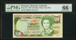 Bermuda Monetary Authority 20 Dollars 20.2.1989 Pick 37a PMG Gem Uncirculated 66 EPQ.   HID09801242017