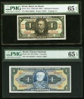 Brazil Group Lot of 8 PMG and PCGS Graded Examples. PMG Choice Uncirculated 64 EPQ (3); PMG Gem Uncirculated 65 EPQ (3); PMG Superb Gem Unc 67 EPQ; PC...